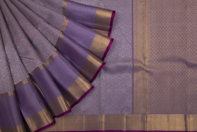 Lavender Grey Kanchipuram Silk Handloom Saree With Intricate Jaal Design
