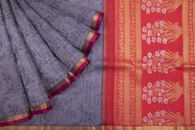 Steel Blue Kanchipuram Silk Handloom Saree