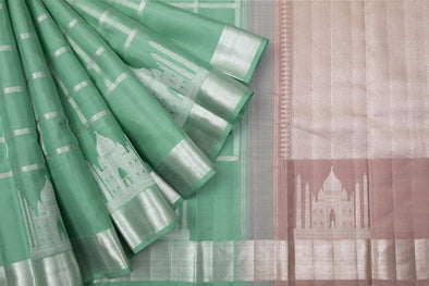 Sea-Foam Green Kanchipuram Silk Handloom Saree With Checks