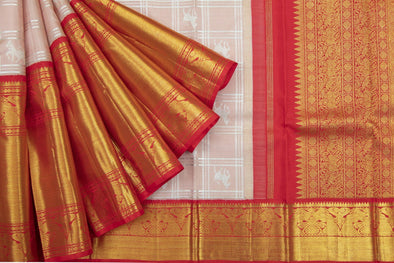 Pastel Peach Kanchipuram silk Handloom Saree with Checks and Horses
