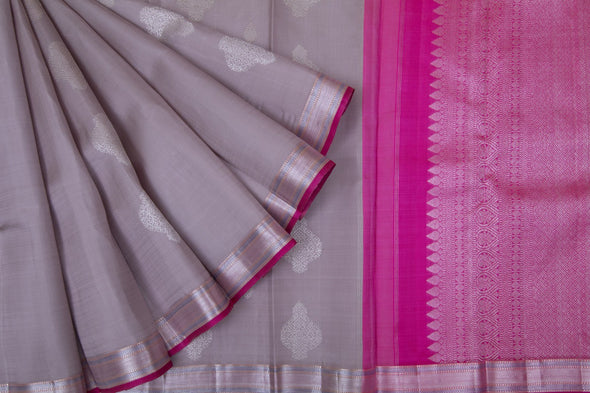 Pale Lilac Grey Kanchipuram silk Handloom Saree With Silver Buttas