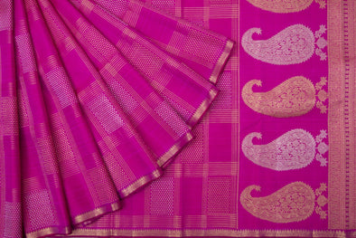 Magenta Kanchipuram Silk Handloom Saree With Checks