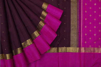 Chocolate Brown Kanchipuram Silk Handloom Saree With Floral Buttas