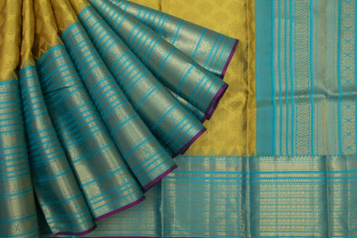 Barberry Yellow Kanchipuram Silk Handloom Saree With Vintage Floral Motifs