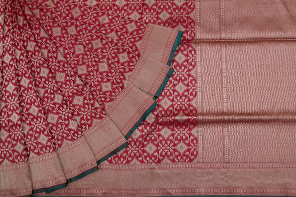 Brick Red Banarasi Katan Silk Handloom Saree With Jaal Design
