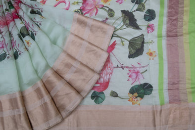 Pista Green Tussar Silk Hnadloom Saree With Floral And Flamingo Motifs