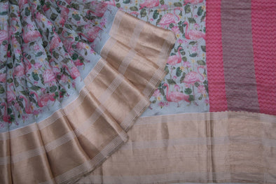 Sea Green Tussar Silk Hnadloom Saree With Floral And Flamingo Motifs