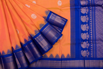 Pastel Orange Gadwal Silk Handloom Saree With Peacock and Chakra Motifs