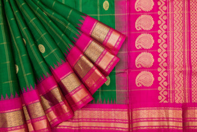 Basil Green Gadwal Silk Handloom Saree With Checks And Floral Motifs