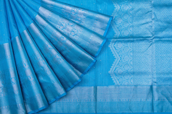 Bright Cyan Blue Venkatagiri Silk Hnadloom Saree With Checks