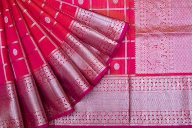 Dual Toned Orange-Pink Venkatagiri Silk Handloom Saree checks and Chakra Motifs