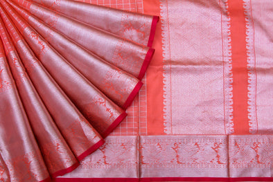 Coral Orange Venkatagiri Silk Hnadloom Saree With Checks And Stripes