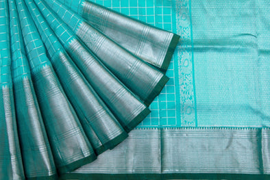 Turquoise Venkatagiri Silk Handloom Saree With Checks
