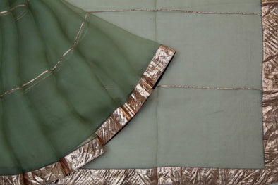 Moss Green Organza Designer Saree With Lampi Border