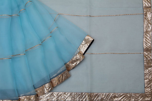 Powder Blue Organza Designer Saree With Lampi Border
