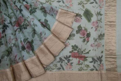 Light Green Tussar Silk Hnadloom Saree With Floral Jaal