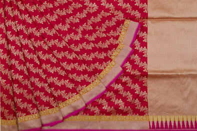 Scarlet Red Banarasi Silk Handloom Saree With Floral Jaal
