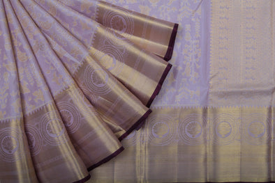 Dusky Lilac Kanchipuram Silk Handloom Saree With Jaal Design