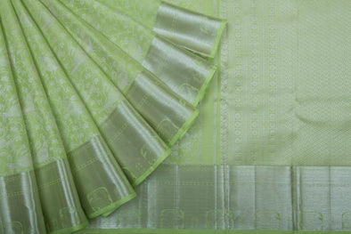 Pistachio Green Kanchipuram Silk Handloom saree With Jaal Design