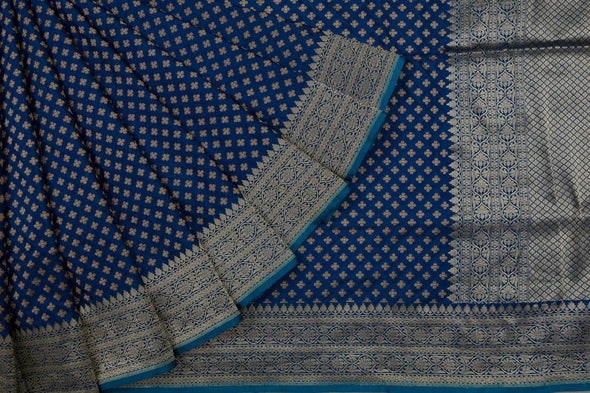Dark Cerulean Blue Banarasi Silk Handloom Saree With Floral Buttas