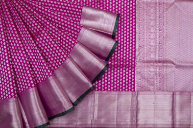 Rani Pink Kanchipuram Silk Handloom Saree With Leaf Motifs