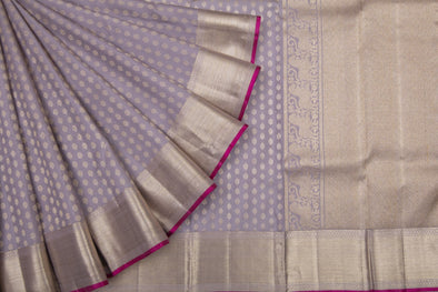 Earthy Lavender Kanchipuram Silk Handloom Saree With Floral Motifs