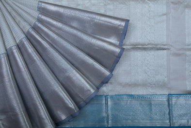 Pearl Grey Venkatagiri Silk Handloom Saree With Checks and Chakra Motifs