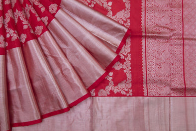 Scarlet Red Venkatagiri Silk Handloom Saree With Floral Jaal