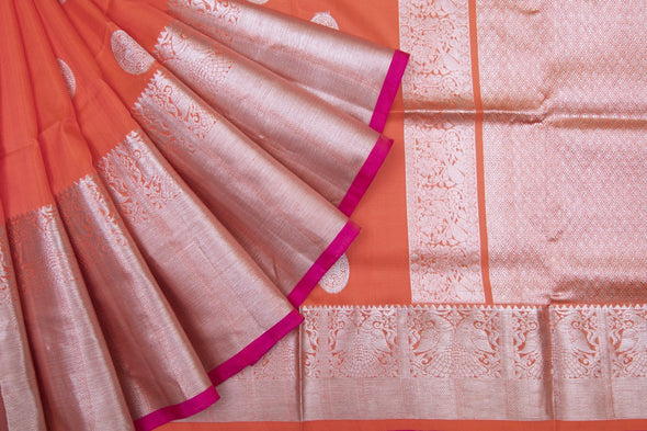 Orange Venkatagiri Silk Handloom Saree With Chakra Motifs