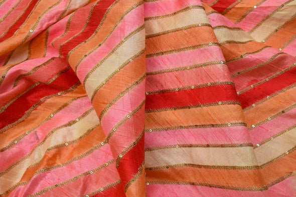 Shades Of Red-Orange Raw Silk Unstitched Fabric-1MTR