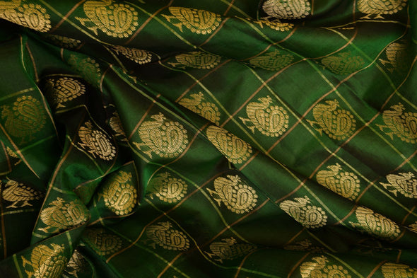 Moss Green Checkered Uppada Silk Unstitched Blouse Fabric-1.05MTR