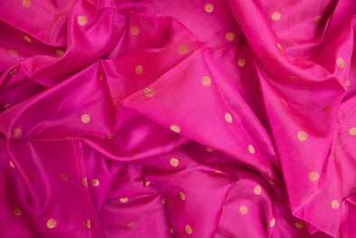 Bright Purple Uppada Silk Unstitched Blouse Fabric-1.1 MTR