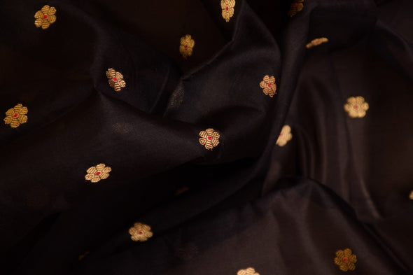 Beaded-Black Uppada Silk Unstitched Blouse Fabric-1 MTR