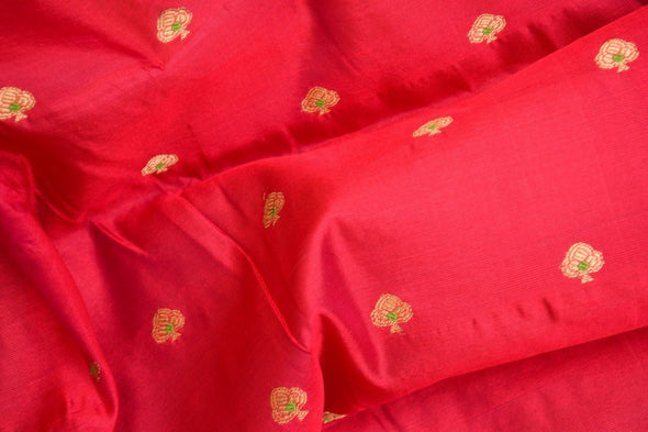 Berry Red Uppada Silk Unstitched Blouse Fabric-90CM