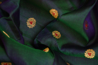Dark Blue-Green Dual toned Uppada Silk Unstitched Blouse Fabric-80CM
