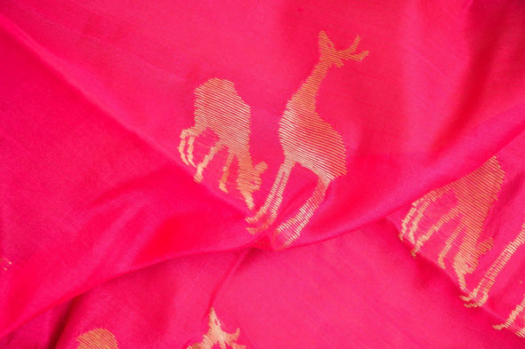 Rani Pink Uppada Silk Unstitched Blouse Fabric-85CM