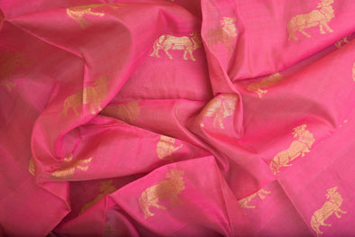 Flamingo Pink Uppada Silk Unstitched Blouse Fabric-80CM