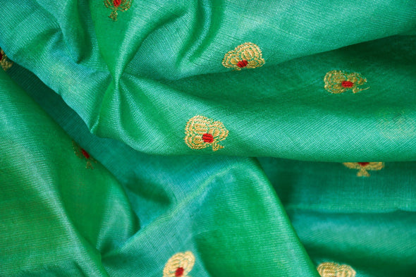Aqua Green Uppada Silk Unstitched Blouse Fabric-95CM