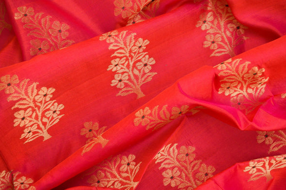Magenta Red Color Uppada Silk Unstitched Blouse Fabric-1MTR