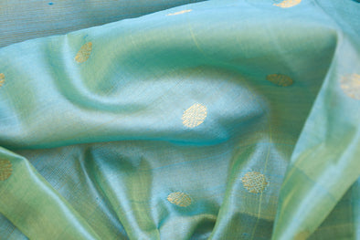 Sea Blue Uppada Silk Unstitched Blouse Fabric-90CM