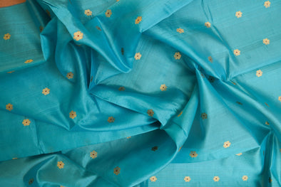 Bright Sky Blue Uppada Silk Unstitched Blouse Fabric-95CM