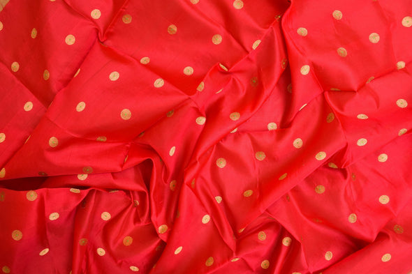Garnet Red Uppada Silk Unstitched Blouse Fabric-1MTR