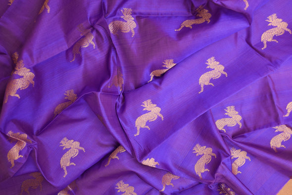 Bright Violet Uppada Silk Unstitched Blouse Fabric-90CM