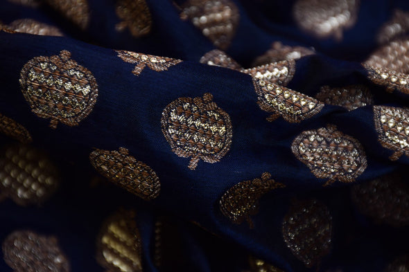 Dark Navy Blue Banarasi Silk Unstitched Blouse Fabric-1MTR