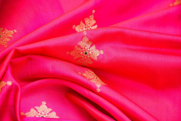 Rani Pink Banarasi Silk Unstitched Blouse Fabric-95 CM