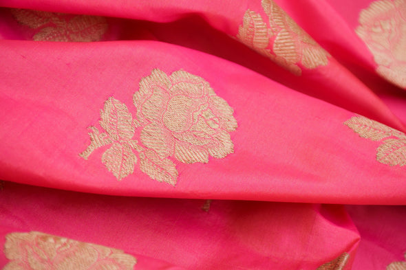 Barbie Pink Banarasi Silk Unstitched Blouse Fabric-1.05MTR