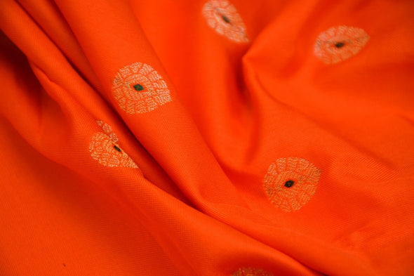 Gold Spot Orange Banarasi Silk Unstitched Blouse Fabric-85 CM