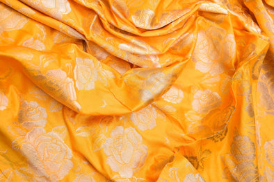 Turmeric Yellow Banarasi Silk Unstitched Blouse Fabric-80 CM