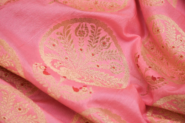 Light Pink Banarasi Silk Unstitched Blouse Fabric-90CM