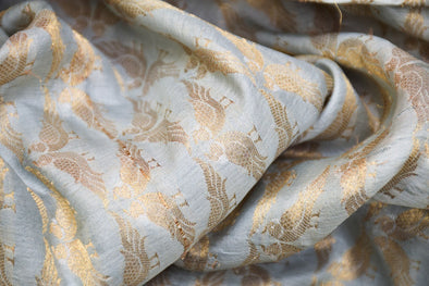 Soft Pastel Blue Banarasi Silk Unstitched Blouse Fabric-1.05MTR